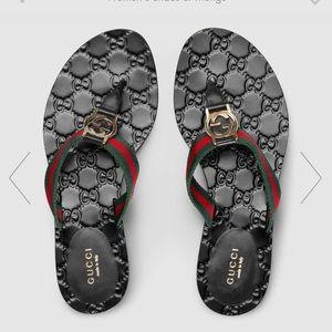 Gucci Black Web Sandals